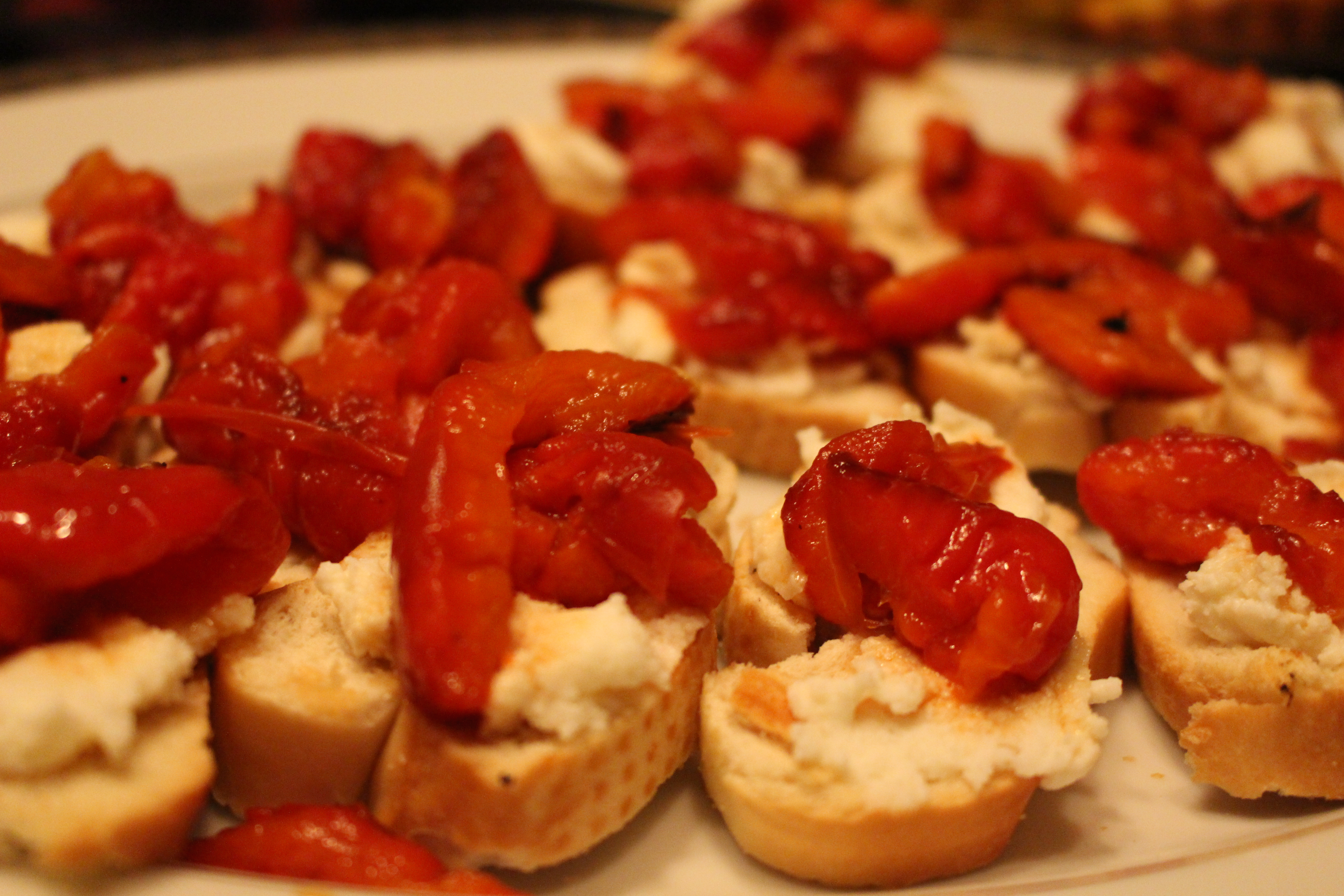 Roasted Red Pepper Crostini | Cake & Lilies