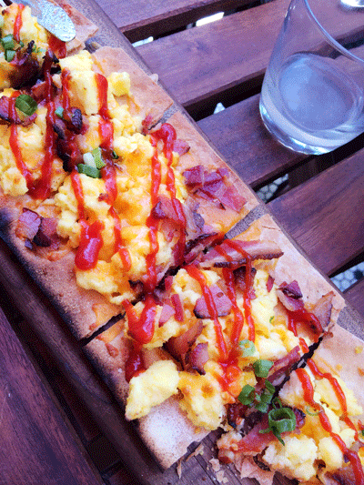 Breakfast Pizza at Hotel Chantelle, NYC