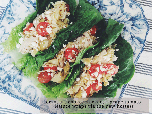 Orzo, Artichoke, Chicken, and Grape Tomato Lettuce Wraps
